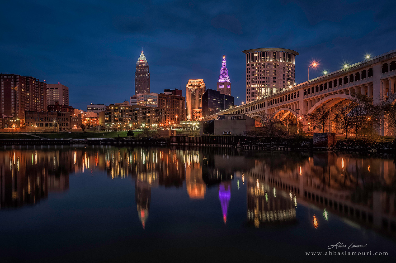 Reflections of the Cleveland skyline and Veterans Memorial Bridge from Heritage Park