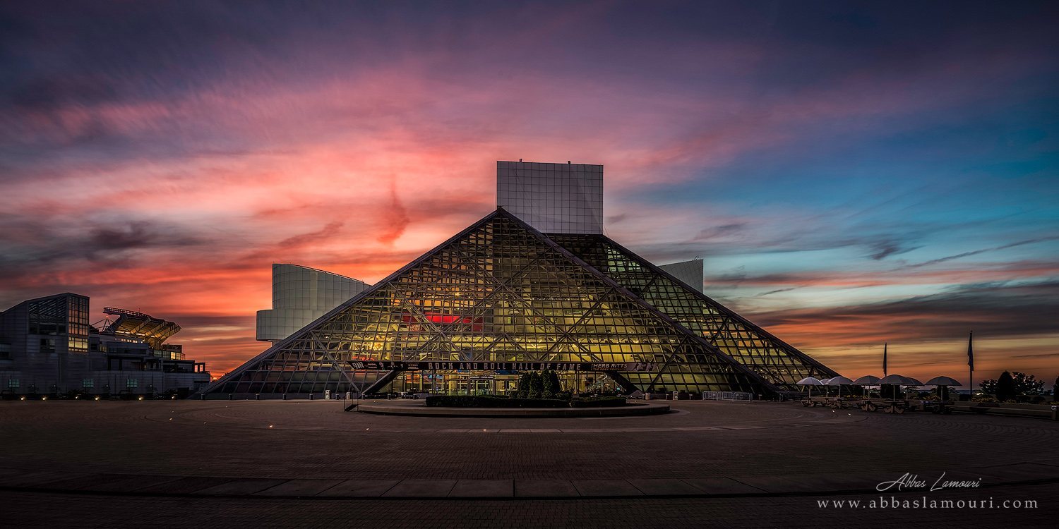 Rock N Roll Hall of Fame and Museum at Dusk - Cleveland, Ohio