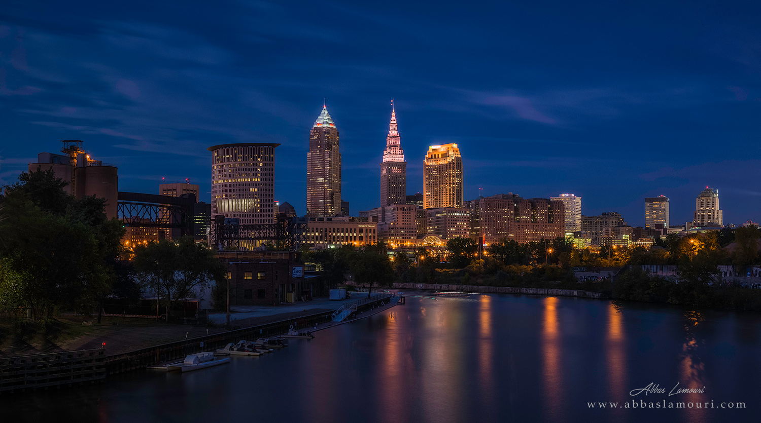 Cleveland skyline from Columbus Street Bridge - Cleveland, Ohio